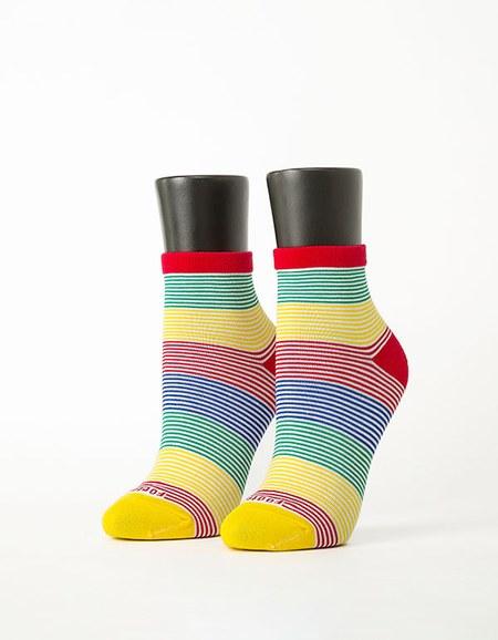 五色彩虹橫條襪